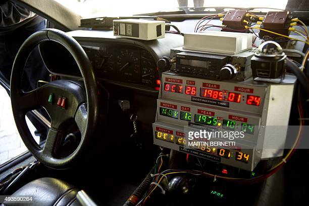 Picture taken inside a replica of the DeLorean a timemachine vehicle which appeared in the movie ' Back to the Future'' in 1985 is displayed during...