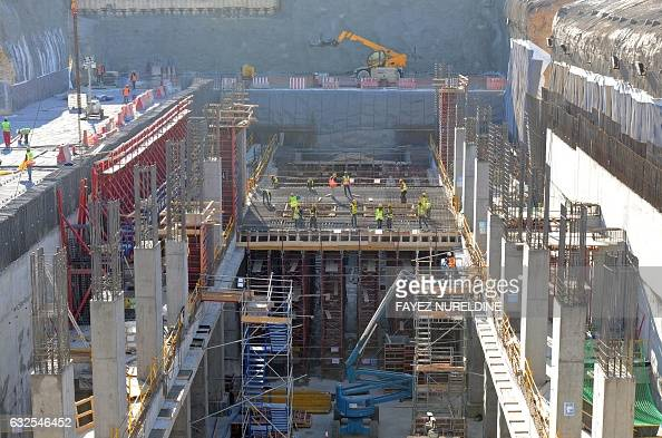 A picture taken January 24 2017 shows a general view of the construction site under the contract of French company ALSTOM of part of the Riyadh metro...