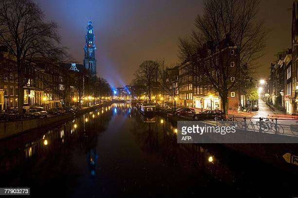 Picture taken late 13 November 2007 night of the The Westertoren tower in Amsterdam light up in blue for the World Diabetes Day On 14 November 2007...
