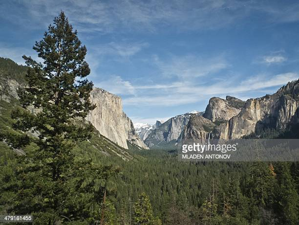 A picture taken March 08 2014 shows a view of Yosemite National Park valley Over 37 million people visit Yosemite each year as most spend their time...