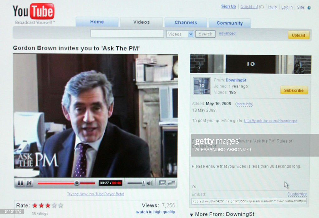 A picture taken May 19, 2008 in London, shows British Prime Minister Gordon Brown speaking on the YouTube website. British Prime Minister Gordon Brown on Monday launched an online version of his weekly question-and-answer session in parliament, vowing to give let the public grill him directly, on YouTube. The online version is seen as an attempt to counter charges that the Labour leader is behind the times, in particular compared to Conservative leader David Cameron, who has called Brown 'an analogue Prime Minister in a digital age'. AFP PHOTO/ALESSANDRO ABBONIZIO