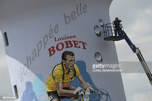 Picture taken of a water tower bearing the name of a French former cyclist Louison Bobet during the 1815 km eighth stage of the 102nd edition of the...