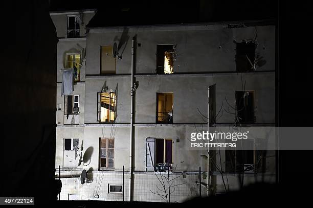 Picture taken of the building in the northern Paris suburb of SaintDenis on November 18 where French Police special forces raided an apartment...