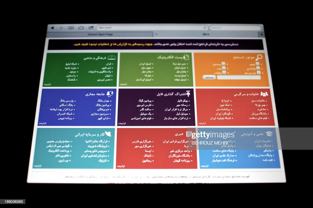 DAVARI - A picture taken of the screen of a tablet shows a webpage that appears when an Iranian user tries to visit websites which are blocked by the government, on May 13, 2013 in the Iranian capital Tehran. The top line reads in Farsi 'Access to the intended webpage is not possible.' Iran is tightening control of the Internet ahead of next month's presidential election, mindful of violent street protests that social networkers inspired last time around over claims of fraud, users and experts say.
