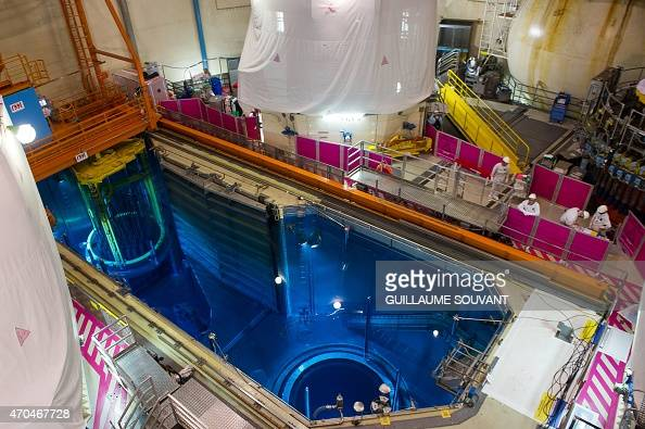 Picture taken of the Unit 1's switched off nuclear reactor core containing the control rods at the nuclear power plant of SaintLaurentdesEaux in...