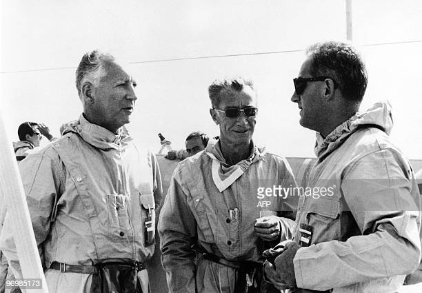 Picture taken on 14 September 1966 of Alain Peyrefitte Minister of Scientific Research and Atomic Questions and Space Admiral Laurain and Pierre...