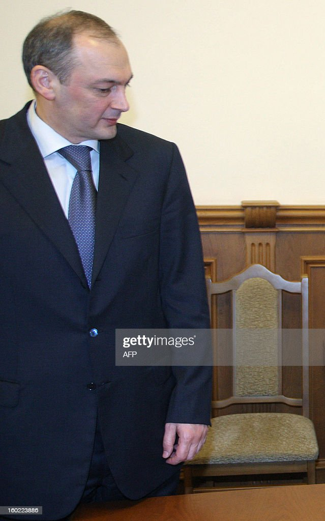 A picture taken on April 1, 2004, shows Magomedsalam Magomedov, the leader of Russia's North Caucasus region of Dagestan, attending a meeting with then President Dmitry Medvedev in Dagestani capital Makhachkala. Russia replaced today Magomedsalam Magomedov, the leader of Dagestan, a volatile region in Northern Caucasus where federal forces are struggling to contain an Islamist insurgency.