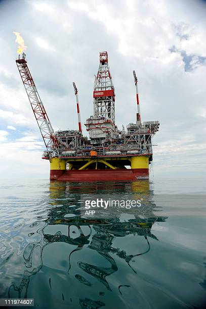 A picture taken on April 10 2011 shows the Russian LUKOIL iceresistant fixed platform LSP1 built at the Astrakhansky Korabel shipyard intended to...