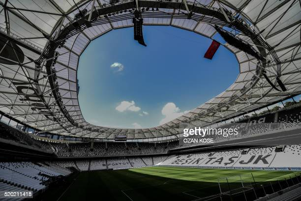 A picture taken on April 10 2016 in Istanbul shows a general view of the Besiktas football club's 'Vodafone arena' new stadium on the opening day AFP...