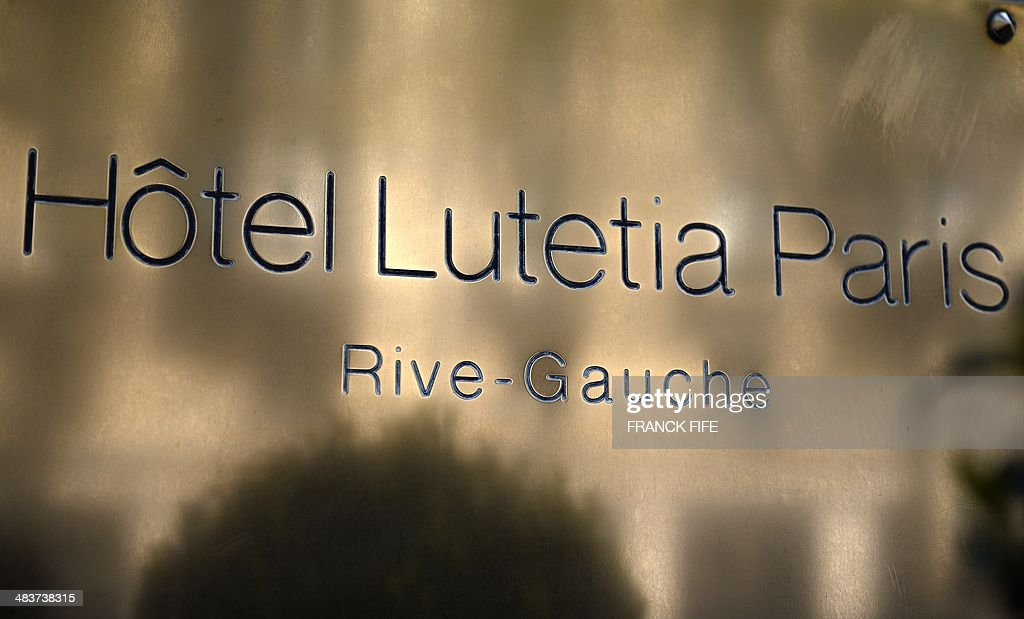 A picture taken on April 10, 2014, shows the front entrance sign of luxury hotel 'Lutetia' in Paris. The hotel, built in 1910 by French architects Louis-Charles Boileau and Henri Tauzin, will close its doors on April 14, 2014, prior to a total renovation. Throughout the years, various celebrities stayed at the 'Lutetia', such as French author and winner of the Nobel Prize in Literature in 1947 Andre Gide, American-born French actress Josephine Baker and French General Charles de Gaulle on the occasion of his wedding night.