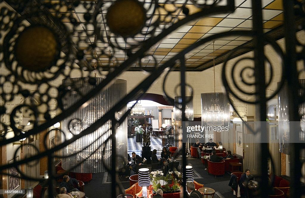 A picture taken on April 10, 2014, shows the lobby of the luxury hotel 'Lutetia' in Paris. The hotel, built in 1910 by French architects Louis-Charles Boileau and Henri Tauzin, will close its doors on April 14, 2014, prior to a total renovation. Throughout the years, various celebrities stayed at the 'Lutetia', such as French author and winner of the Nobel Prize in Literature in 1947 Andre Gide, American-born French actress Josephine Baker and French General Charles de Gaulle on the occasion of his wedding night. AFP PHOTO / FRANCK FIFE
