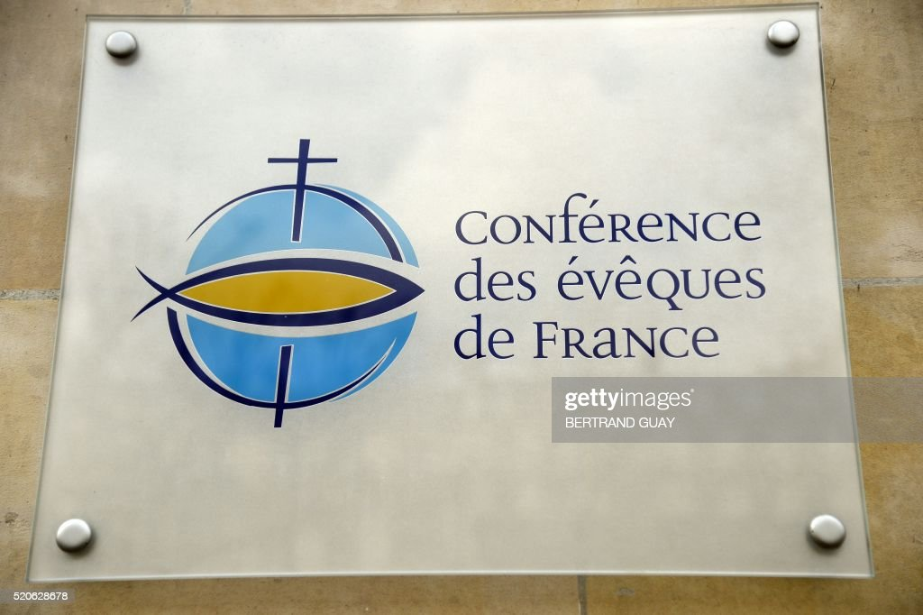 A picture taken on April 12 2016 shows the logo of the French bishops conference in Paris The Catholic Church in France today pledged to shed light...