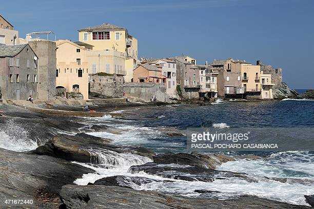 A picture taken on April 12 partially shows the little port of Erbalunga close from Bastia on April 12 2015 in the French Mediterranean island of...