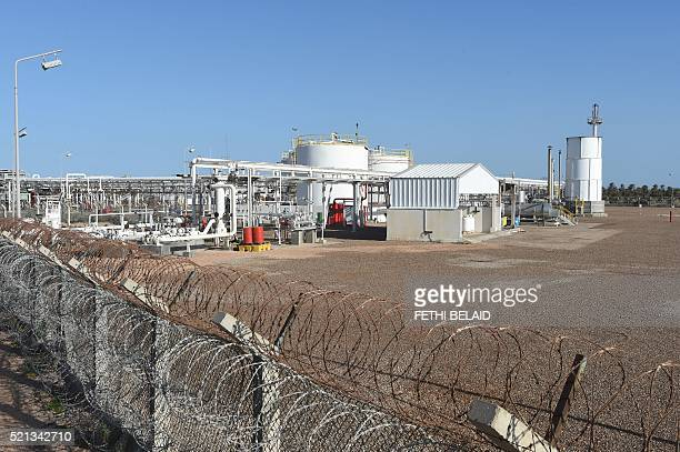 A picture taken on April 14 2016 shows the facilities of the Chergui gas field concession of the UK based oil company Petrofac on the island of...