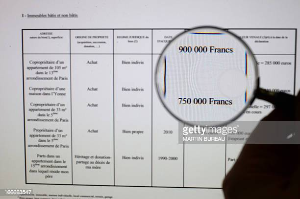 A picture taken on April 15 2013 in Paris shows the page of the website in which French government reveals French Social Affairs and Health Minister...