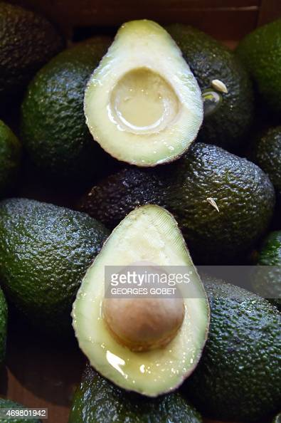 A picture taken on April 15 2015 shows avocados on display at the Talensac market in central Nantes western France /AFP PHOTO GEORGES GOBET