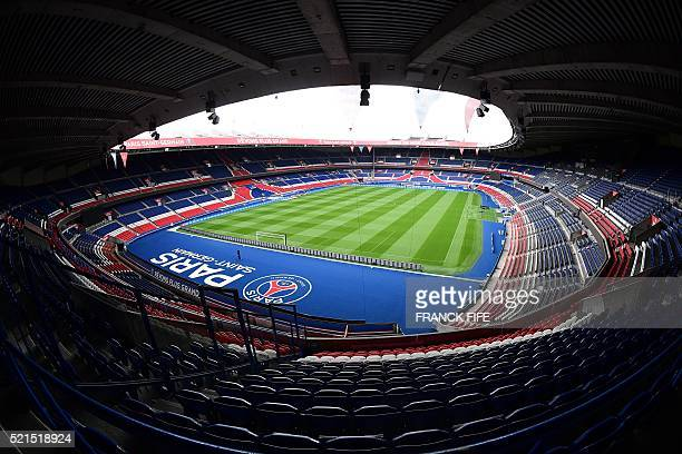 A picture taken on April 15 2016 shows a view of the pitch and the stands at Parc des Princes stadium in Paris Built in 1972 Parc des Princes can...