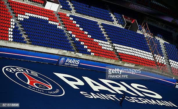 A picture taken on April 15 2016 shows a view of the stands at Parc des Princes stadium in Paris Built in 1972 Parc des Princes can hold over 48000...