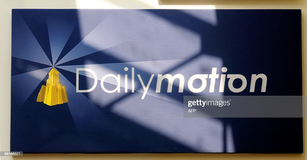 A picture taken on April 16, 2008 at Dailymotion Paris headquarters shows the logo of the French global independent provider of online video content.