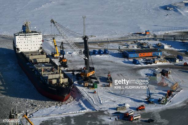 A picture taken on April 16 2015 shows a general view of the port of Sabetta in the Kara Sea shore line on the Yamal Peninsula in the Arctic circle...