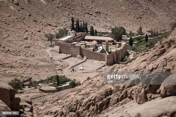 A picture taken on April 16 2017 shows a general view of the Monastery of St Catherine in Egypt's south Sinai where a policeman was killed and three...