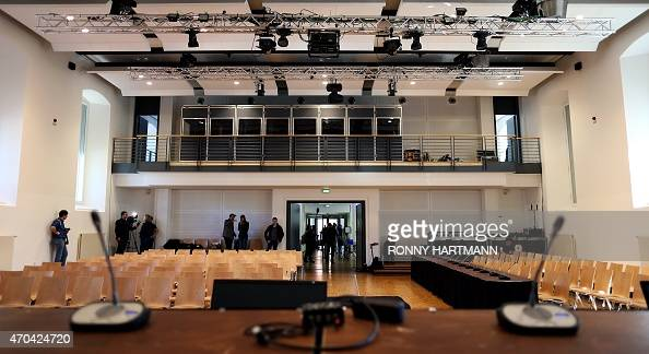 Picture taken on April 20 2015 shows a general view of the courtroom at the 'Ritterakademie' venue in Lueneburg northern Germany The 'Ritterakademie'...