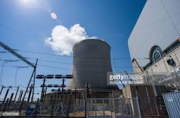 A picture taken on April 20 2015 shows the 'aircooling' tower at the nuclear power plant of SaintLaurentdesEaux in SaintLaurentNouan on April 20 2015...