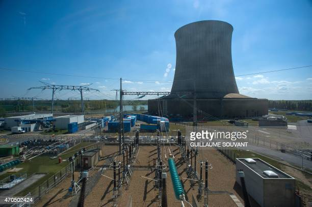 A picture taken on April 20 2015 shows the tower 'aircooling' at the nuclear power plant of SaintLaurentdesEaux in SaintLaurentNouan on April 20 2015...