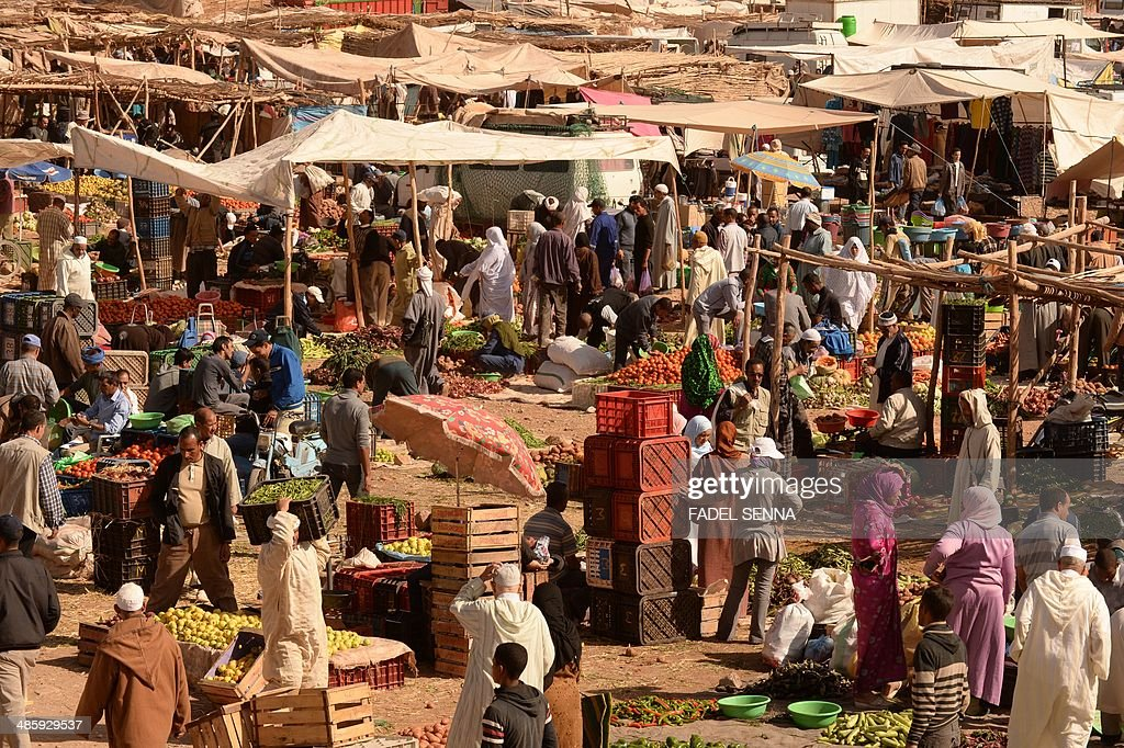 A picture taken on April 21, 2014 shows the souk of the central eastern Moroccan city of Tinghir.