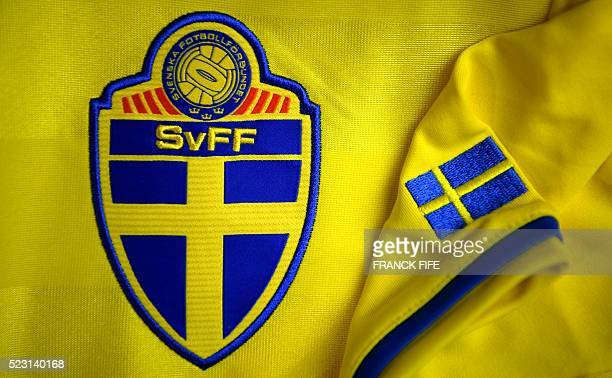 A picture taken on April 21 2016 in Paris shows the jersey of the Swedish national football team for the UEFA Euro 2016 European football...