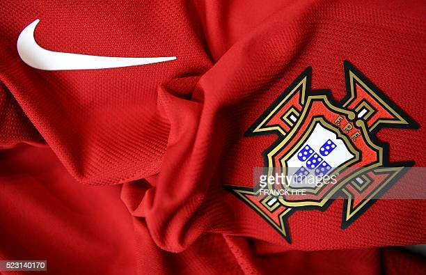 A picture taken on April 21 2016 in Paris shows the jersey of the Portugal national football team for the UEFA Euro 2016 European football...
