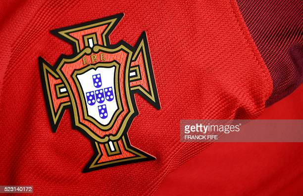 A picture taken on April 21 2016 in Paris shows the jersey of the Portuguese national football team for the UEFA Euro 2016 European football...