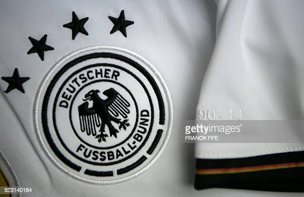 A picture taken on April 21 2016 in Paris shows the jersey of the German national football team for the UEFA Euro 2016 European football...