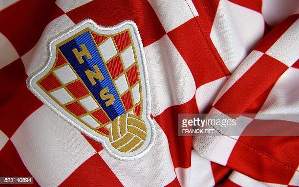 A picture taken on April 21 2016 in Paris shows the jersey of the Croatian national football team for the UEFA Euro 2016 European football...