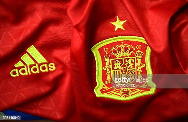 A picture taken on April 21 2016 in Paris shows the jersey of the Spanish national football team for the UEFA Euro 2016 European football...