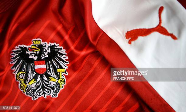 A picture taken on April 21 2016 in Paris shows the jersey of the Austrian national football team for the UEFA Euro 2016 European football...