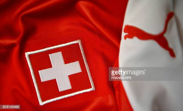 A picture taken on April 21 2016 in Paris shows the jersey of the Swiss national football team for the UEFA Euro 2016 European football championships...