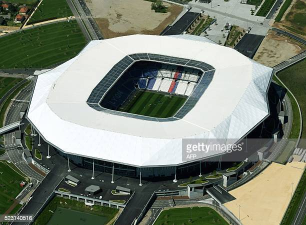 A picture taken on April 21 2016 shows an aerial view of Parc Olympique Lyonnais also known as Stade des Lumieres or Grand Stade OL in...
