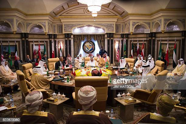 A picture taken on April 21 2016 shows US President Barack Obama attending a meeting with Saudi King Salman and Saudi Defence Minister and Deputy...