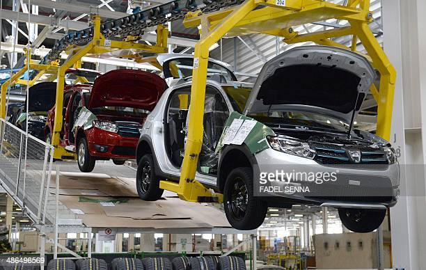 A picture taken on April 23 2014 shows a production line at the Renault factory of Melloussa near Tangier AFP PHOTO /FADEL SENNA