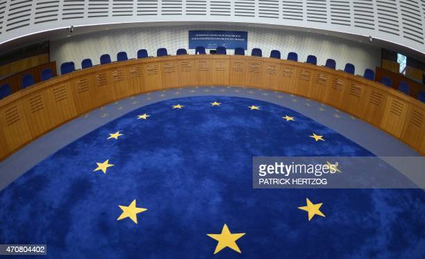 Picture taken on April 23 2015 shows the audience room of the European Court for Human Rights in Strasbourg eastern France AFP PHOTO / PATRICK HERTZOG