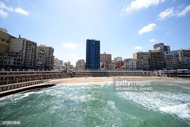A picture taken on April 24 2015 shows Stanley beach in the Stanley neighborhood of the Egyptian port of Alexandria AFP PHOTO / MOHAMED ELSHAHED