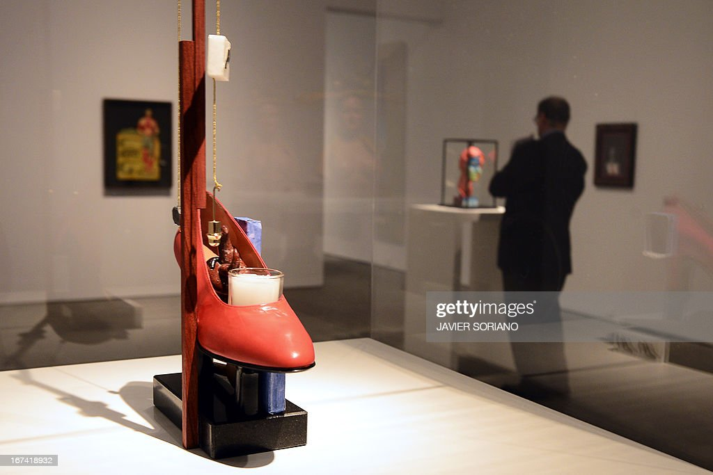 A picture taken on April 25, 2013 shows a creation entitled 'Surrealist object that functions symbolically - Gala's Shoe' (1930-1973) by Spanish surrealist artist Salvador Dali during the exhibition 'Dali. All of the poetic suggestions and all of the plastic possibilities' at the Reina Sofia museum in Madrid.