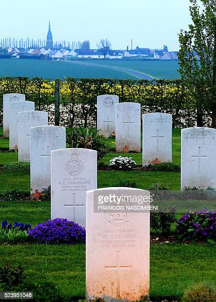 A picture taken on April 25 2016 during the Anzac day in tribute of Australians and New Zealanders soldiers killed in combat shows the cemetery of...