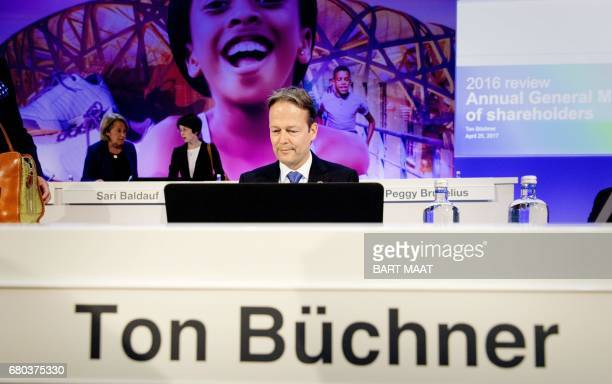 A picture taken on April 25 2017 shows AkzoNobel CEO Ton Buchner attending the Annual General Meeting of shareholders in Amsterdam The world's...