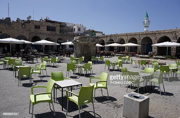 A picture taken on April 26 2014 shows the main square of the ancient Mediterranean port town of Akko north of Haifa Israel The Canaanites the Greeks...