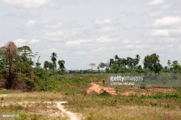 A picture taken on April 26 2017 shows a general view of the cleared area in Calabar where the ground breaking ceremony for the Cross River Super...