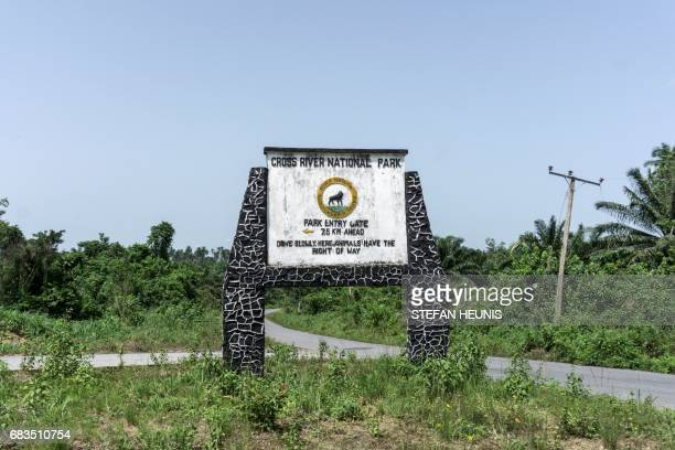 A picture taken on April 26 2017 shows a sign board for the Cross River National Park situated where the Cross River Super Highway will be running in...