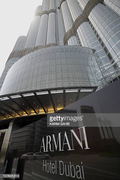 A picture taken on April 27 2010 shows Dubai's Armani hotel at the Gulf emirate's Burj Khalifa tower just before its glitzy opening ceremony The...
