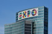 A picture taken on April 29 2014 shows the logo of the 2015 universal exhibition on top of the 'Palazzo Lombardia' in Milan Expo 2015 is the next...